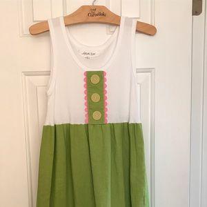 Linen Lime green tank Girls Dress